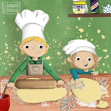 Diese beiden spielen Bäcker,<br/>sorgen dabei für Geklecker.<br/>Doch manchmal da muss Chaos sein,<br/>damit die Plätzchen schmecken fein.