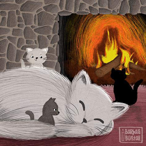 Vor dem Kamin da gibt´s ein Plätzchen,<br/>besetzt von Mutter mit drei Kätzchen.<br/>Die Mama sie schläft tief und fest,<br/>während daneben tobt der Rest.