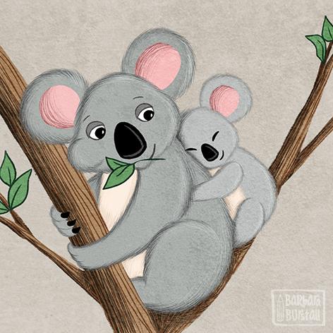 Koala Mama sorgt sich sehr<br/>um ihren kleinen Baby Bär.<br/>Schaut, dass er schläft und sicher ist,<br/>während sie gemütlich frisst.