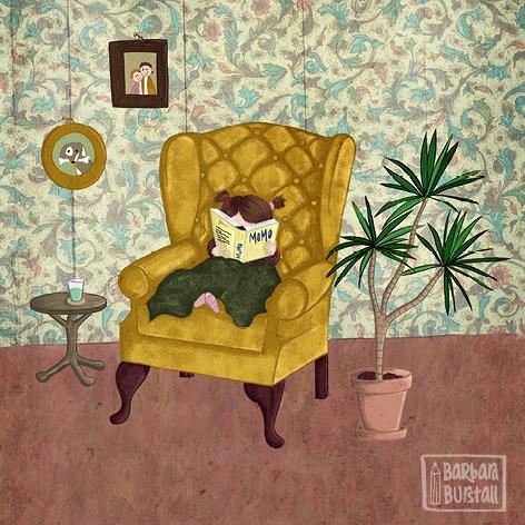 Omas Sessel ein Genuss,<br/>wenn Anne sich erholen muss.<br/>Gemütlich und mit einer Decke,<br/>auch einem Buch zu diesem Zwecke.
