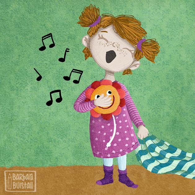 Frida liebt Tanz und Gesang,<br/>übt wann immer sie es kann.<br/>Ihre Spieluhr hilft beim Singen,<br/>hilft das Töne richtig klingen.